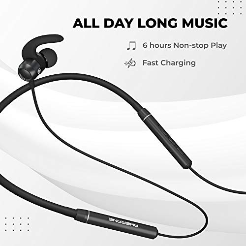 Ambrane BassBand Lite Bluetooth Neckband Earphones, Defined Audio with 6h Playtime, in-Line Mic for Calling, Secure Fit, Lightweight and Flexible Neckband, Multifunctional Controller (Black)