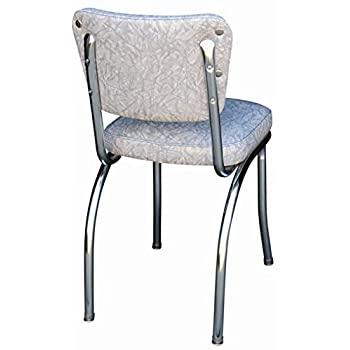 "Richardson Seating Cracked Ice Retro Chrome Kitchen Chair with 2"" Box Seat, Grey"