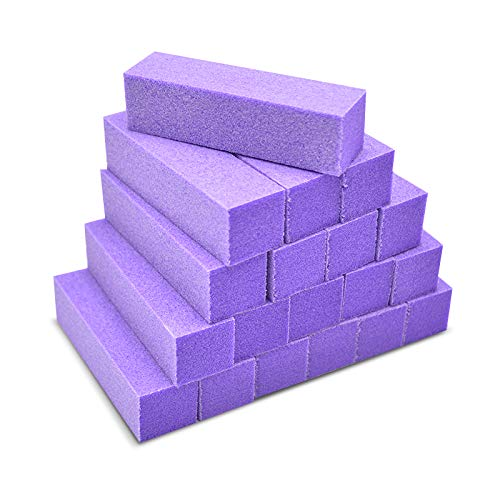 Tachibelle 50 pcs Premium Made in Korea Purple Buffer White 100/180 Grit Premium 4-Way Nail File Buffing - Block Purple