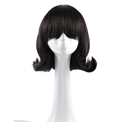 YuHe Short Black Curly Wig Cosplay Halloween Costume Hair Replacement Heat Resistant Natural Looking Wig for Women
