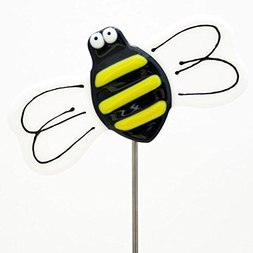 Glassworks Northwest - Honey Bee Plant Stake - Fused Glass Garden Art