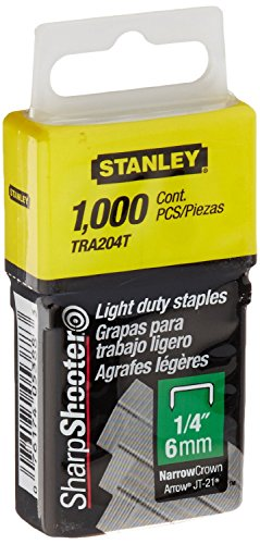 Stanley Tra204T 1/4 Inch Light Duty Narrow Crown Staples, Pack of 1000(Pack of 1000) (Stanley Staples)