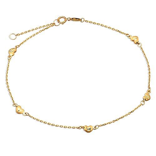 (LOVEBLING 10K Yellow Gold .50mm Diamond Cut Rolo Chain with 5 Diamond Cut Heart Pendants Anklet Adjustable 9