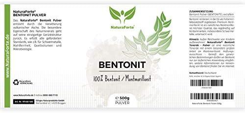 NaturaForte Bentonite Montmorillonite en Poudre 500g - Extra Fine en qualité supérieure, testée et contrôlée en Allemagne