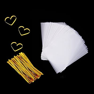 Cellophane Bag 200 PCS Clear Cello Treat Bags Party Favor Bags for Gift Bakery Cookies Candies Dessert with 200 PCS Metallic Twist Ties
