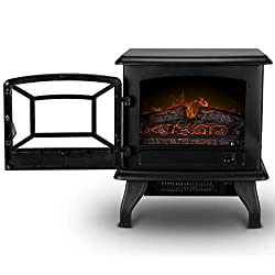 "DELLA 17"" Freestanding Portable Electric Fireplace 3D Flames Firebox Vintage with Logs Heater Black/White, 1400-Watts from Della"