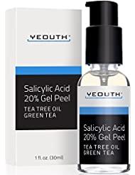 Salicylic Acid 20% Professional Chemical Gel Peel for Skin with Tea Tree, Green Tea, Acne Scars, Acne Treatment, Breakouts, Whiteheads, Blackheads, Pore Size, Wrinkles, Anti-Aging Benefits GUARANTEED