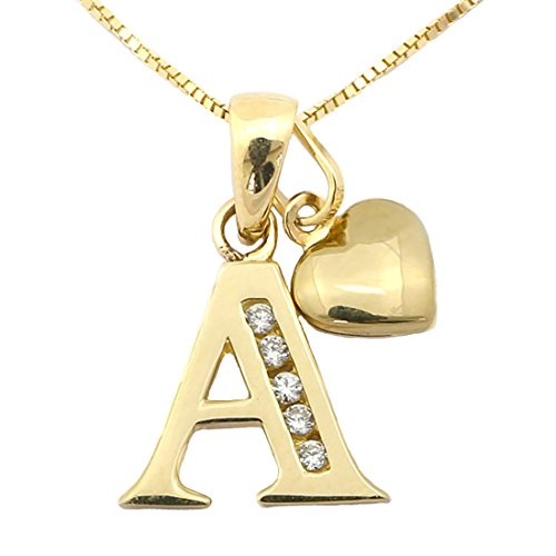 Girls' 14k Yellow Gold Cubic Zirconia Initial Pendant with Heart Charm 13'' Necklace - A by Beauniq