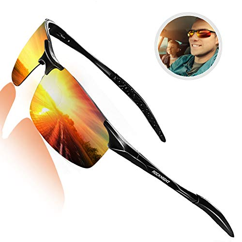 ROCKNIGHT Driving Polarized Sunglasses for Men UV Protection Mirrored Sunglasses Ultra Lightweight Al-Mg Metal Outdoor Golf Fishing Sports Sunglasses ()