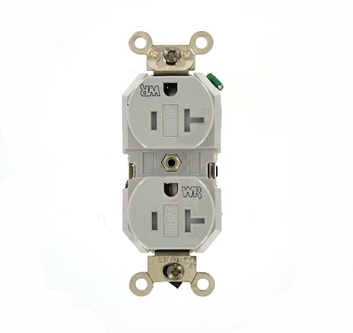 Leviton TWR20-GY 20 Amp, 125 Volt, Duplex Receptacle, Tamper and Weather Resistant, Straight Blade, Industrial Grade, Self Grounding, Gray