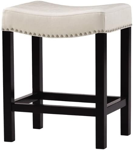Home Decorators Collection Curved Nailhead Counter Stool, 24 H Counter, Textured Ivory