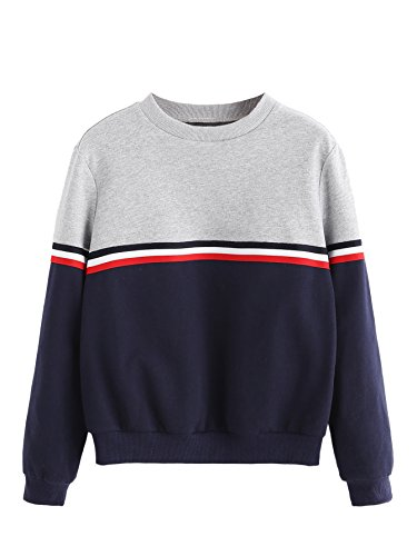 Romwe Womens Color Block Round Neck Long Sleeve Pullover Striped Sweatshirt Top