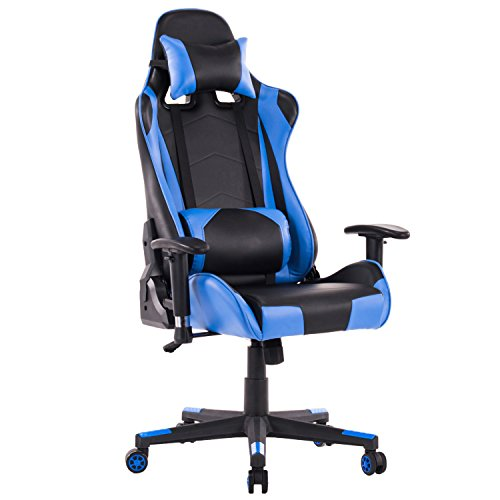 HOMEFUN PC Gaming Chair, Ergonomic Computer Game Chair, Adjustable Racing Backrest and Seat Height with Headrest and Lumbar Support (Blue/Black)