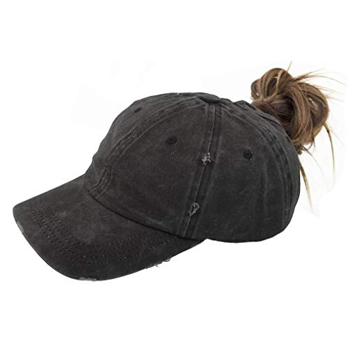 (Washed Ponytail Hats Pony Tail Caps Baseball for Women)