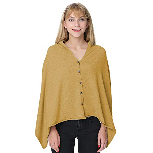 PULI Women's Versatile Knitted Scarf with Buttons Shawl Poncho Cape Cardigan, Khaki by Puli (Image #3)
