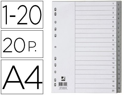 Q-Connect KF34024 - Set di 20 separatori numerati da 1 a 20, in plastica, misura DIN A4, multiforo