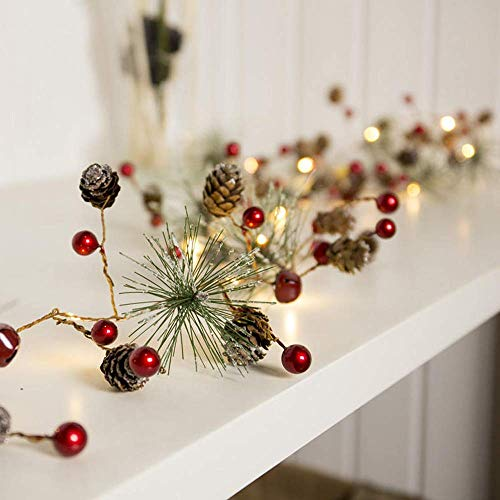 Pinecone Red Berry - 2M 20LED Red Berry Pinecone Warm White Battary Operated LED Christmas Holiday String Light DC4.5V