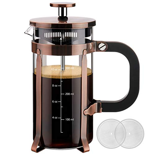 Veken French Press Coffee Maker (12oz), 304 Stainless Steel Coffee Press with 4 Filter Screens, Durable Easy Clean Heat Resistant Borosilicate Glass – 100% BPA Free