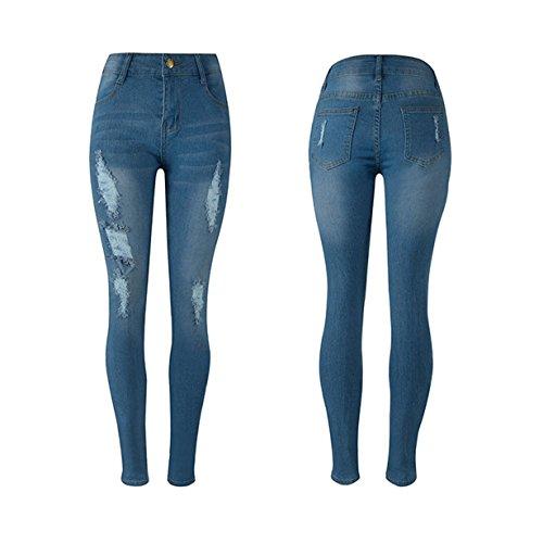 Vaqueros,Longra Completos forrados Jeans Mujer ven pantalones ajustados leggins Slim ❤️ Azul