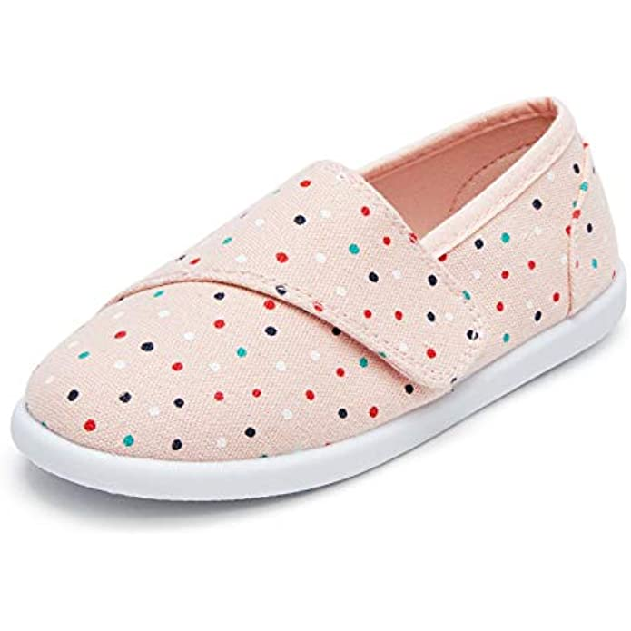 K KomForme Toddler Girls Sneakers Slip On Moccasins Casual Canvas Shoes Kid's Lazy Loafers Shoes