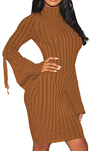 Women Sexy Midi Sweater Dress Turtleneck Long Bell-Sleeves Bandage Hollow Knit Stretchable Pencil for Party Brown