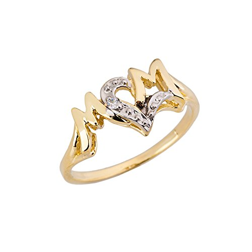 10k Gold Heart Ring - Exquisite 10k Yellow Gold Diamond Heart