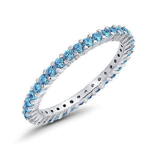 Full Eternity Stackable Wedding Band Ring Simulated Blue Topaz Cubic Zirconia 925 Sterling SilverSize-6