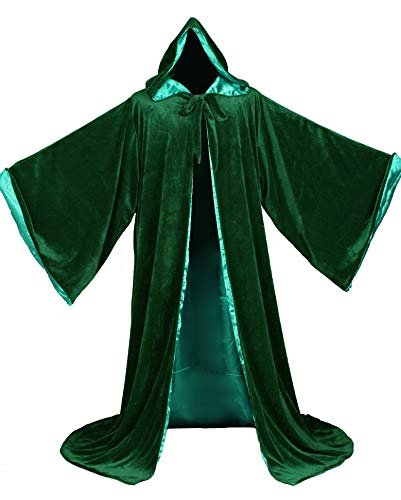 LuckyMjmy Velvet Wizard Robe with Satin Lined Hood and Sleeves (Dark Green)