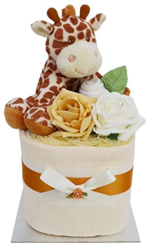Gorgeous Unisex Giraffe Themed Square Mini New Baby Nappy Cake Baby Shower Gift Packaged to Perfection MSGIR2