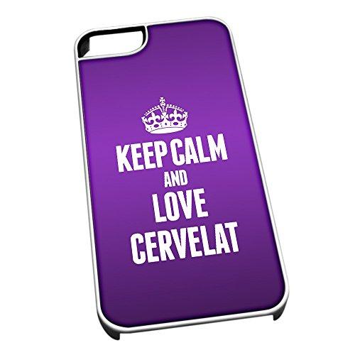 Bianco cover per iPhone 5/5S 0927viola Keep Calm and Love Cervelat