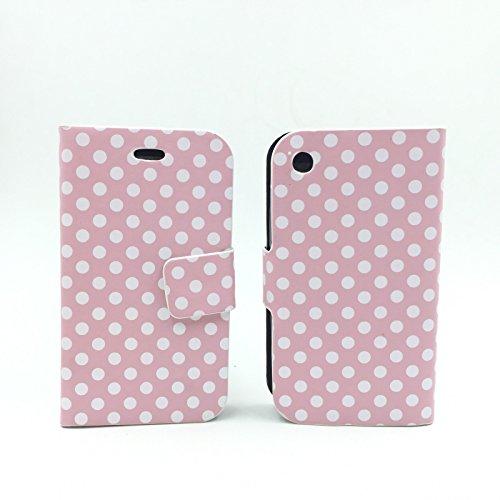 König-Shop Apple iPhone 3 / 3G / 3GS Handy Hülle Schutzhülle Tasche (Flip Quer) Wallet Rockabilly Etui Schutz Case Cover Bumper Standfunktion Rosa / Weiß Gepunktet