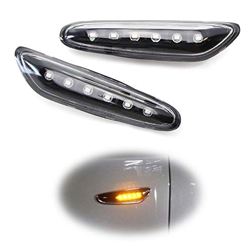 iJDMTOY Euro Black/Clear Lens Amber Full LED Front Side Marker Light Kit For BMW 1 3 5 Series, etc, Replace OEM Amber/Clear Sidemarker Lamps