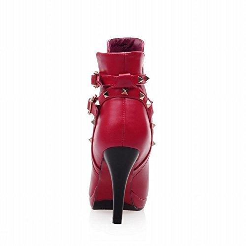 Carolbar Femmes Sexy Boucles Cloutées Rivet Bout Pointu Mode Haut Talon Aiguille Courte Robe Bottes Rouge