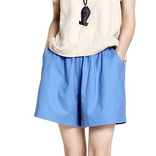 Gamba Pantaloncini Denim Blu Alta Vita Allentati Eleganti Larga Donna Pantaloncini Casual T0x56za