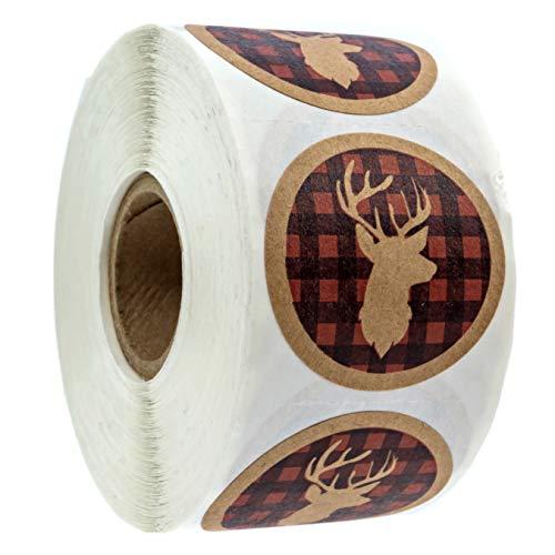 "1.5"" Round Kraft Buffalo Plaid Deer Head Holiday Label / 500 Northwoods Christmas Holiday Seal"