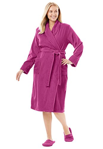 Dreams & Co. Women's Plus Size Short Terry Robe with Free Matching Slippers - Bright Berry, 1X