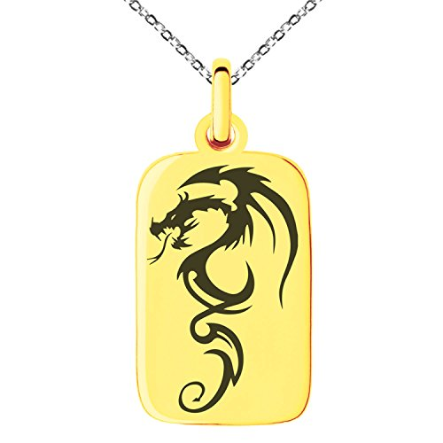 Gold Plated Stainless Steel Shadow Dragon Engraved Small Rectangle Dog Tag Charm Pendant Necklace (Pendant Dog Rectangular Tag)