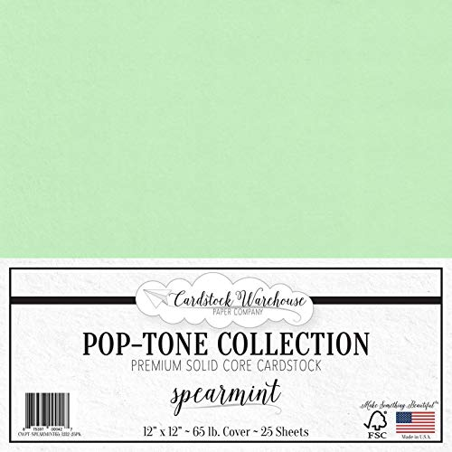 Spearmint Green Cardstock Paper - 12 x 12 inch 65 lb. Premium Cover - 25 Sheets from Cardstock Warehouse