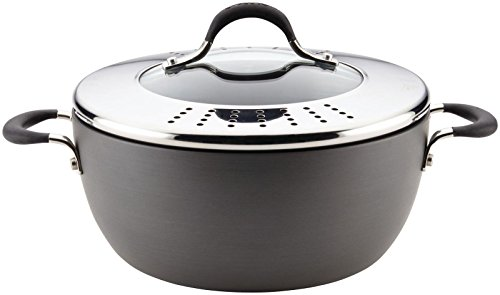 Circulon Momentum Hard-Anodized Nonstick Covered Casserole with Lock 'n' Strain Lid, 5.5-Quart, Gray ()