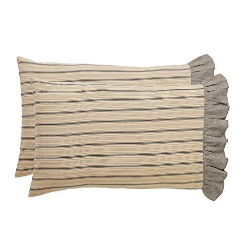 VHC Brands Farmhouse Bedding - Sawyer Mill Tan Pillow Case Set of 2, Standard, Dark Creme ()