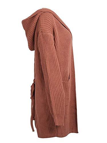 Moda Autunno Lacci Invernali Donne Pullover A Alla Con Fashion Cappotto Outwear Giovane Casual Tasche Maglia Incappucciato Kamel Lunghe Maniche Giacca Eleganti Sciolto Women a8A6zqax