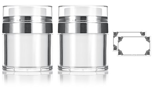 1 oz / 30 ml White Airless Refillable Jar (2 PACK) + Labels - keeps out bacteria and air changing oxidation from your skin care products - durable, leak proof, and shatterproof for home or travel
