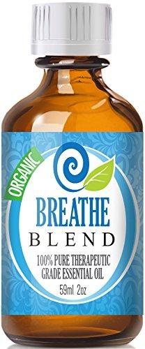 Дышите (органические, 60мл) 100% Pure, лучших лечебно-класс - (Мята, розмарин, лимон и эвкалипт наложения - Сопоставимые Doterra дышать, Young Living Ворон, Идена Выдох, вдох, органов дыхания и Sinus помощи - Breathe Easy / легче)