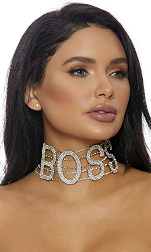 Forplay Women's BOSS Rhinestone Choker, Silver, O/S - Forplay Rhinestone Necklace