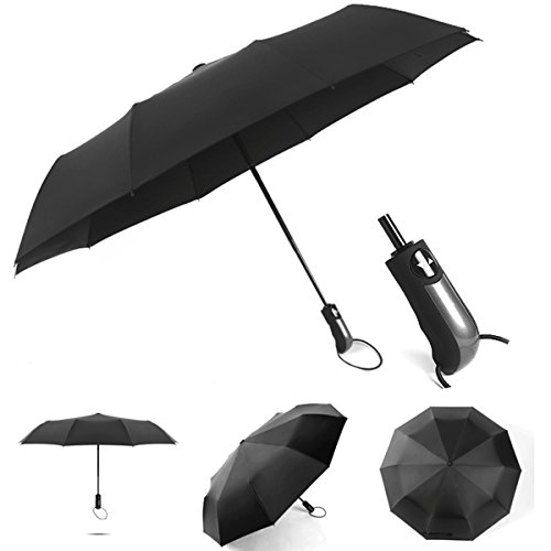 10 Ribs automatic three fold reinforced windproof reverse business umbrella, advertising umbrella-double large with black rubber coating (Twilight Tye Dye)