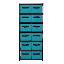 """MULSH Storage Shelf Drawer Chest Organizer Units Storage Cabinet 12-Drawer Organizer With 12 Removable Non-woven Fabric Bins in Turquoise,20.67""""W x 12""""D x49.21""""H(WxDxH)"""