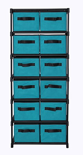 MULSH 12-Drawer Storage Chest Shelf Storage Cabinet Organizer Units With 12 Removable Non-woven Fabric Bins in Turquoise,20.67
