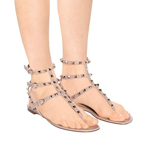 Backless Dress Nude Slides US Sandals Womens Flats 14 Slippers Chris Studded Flops 5 Gladiator T Mules Rivets Flip Strappy Rockstud qxPT7BX