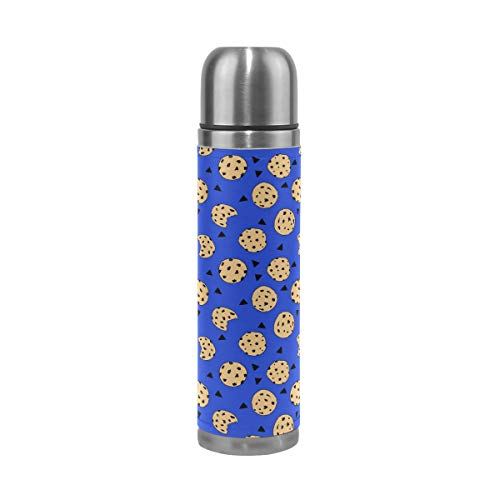 (Stainless Steel Vacuum Insulated Water Bottle Cookies Chocolate Chip Monster Leak Proof Travel Coffee Mug Genuine Leather Cover Keep Drinks Hot and Cold 17 Oz)