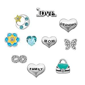 Q&Locket Mom Grandma Family Tree Floating Charms For Glass Living Memory Lockets Necklace &Bracelet